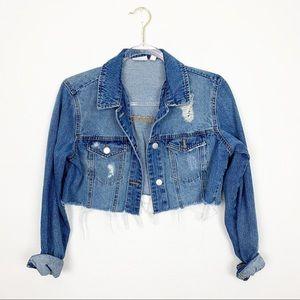 BP Cropped Distressed Jean Jacket Size XS